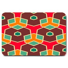 Distorted Shapes In Retro Colors			large Doormat by LalyLauraFLM