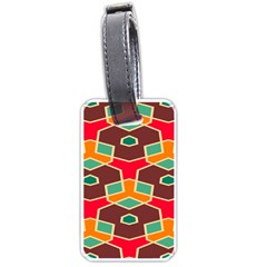 Distorted Shapes In Retro Colors			luggage Tag (one Side) by LalyLauraFLM