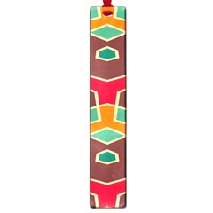 Distorted Shapes In Retro Colors			large Book Mark by LalyLauraFLM