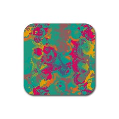 Fading Circles			rubber Square Coaster (4 Pack by LalyLauraFLM
