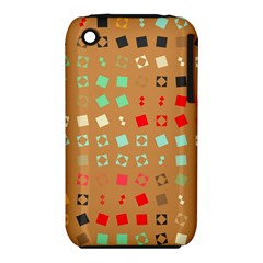 Squares On A Brown Background			apple Iphone 3g/3gs Hardshell Case (pc+silicone) by LalyLauraFLM