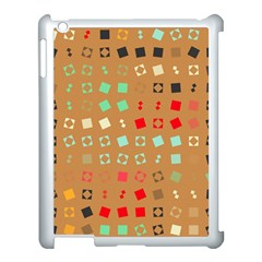 Squares On A Brown Background			apple Ipad 3/4 Case (white) by LalyLauraFLM