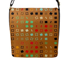 Squares On A Brown Background			flap Closure Messenger Bag (l) by LalyLauraFLM