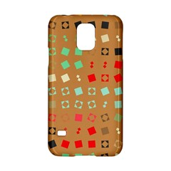 Squares On A Brown Background			samsung Galaxy S5 Hardshell Case by LalyLauraFLM