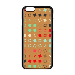 Squares On A Brown Background			apple Iphone 6/6s Black Enamel Case