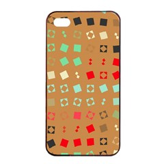 Squares On A Brown Background			apple Iphone 4/4s Seamless Case (black) by LalyLauraFLM