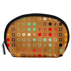 Squares On A Brown Background Accessory Pouch by LalyLauraFLM