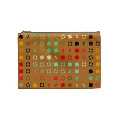 Squares On A Brown Background Cosmetic Bag by LalyLauraFLM