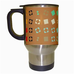 Squares On A Brown Background Travel Mug (white) by LalyLauraFLM