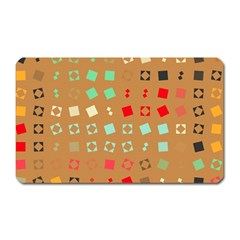 Squares On A Brown Background			magnet (rectangular) by LalyLauraFLM