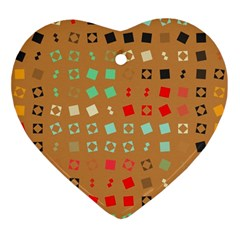 Squares On A Brown Background			ornament (heart) by LalyLauraFLM