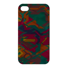 Geometric Shapes In Retro Colorsapple Iphone 4/4s Hardshell Case by LalyLauraFLM