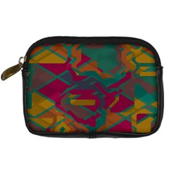 Geometric Shapes In Retro Colors 	digital Camera Leather Case by LalyLauraFLM
