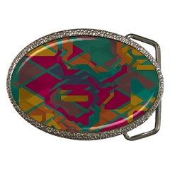 Geometric Shapes In Retro Colors			belt Buckle by LalyLauraFLM
