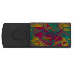 Geometric Shapes In Retro Colors			usb Flash Drive Rectangular (4 Gb) by LalyLauraFLM