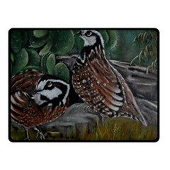 Bobwhite Quails Double Sided Fleece Blanket (small)  by timelessartoncanvas