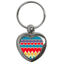 Chevrons And Rhombus			key Chain (heart) by LalyLauraFLM