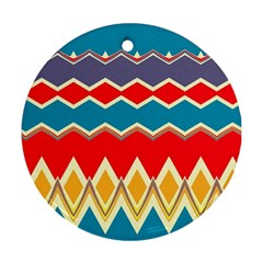Chevrons And Rhombus			ornament (round) by LalyLauraFLM