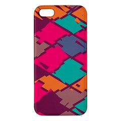 Pieces In Retro Colors			apple Iphone 5 Premium Hardshell Case by LalyLauraFLM