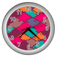 Pieces In Retro Colors			wall Clock (silver) by LalyLauraFLM