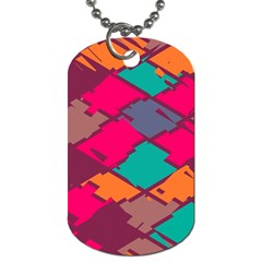 Pieces In Retro Colors			dog Tag (one Side) by LalyLauraFLM