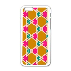 Connected Shapes Pattern			apple Iphone 6/6s White Enamel Case by LalyLauraFLM