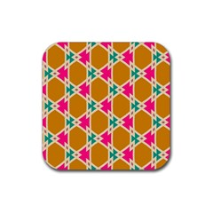 Connected Shapes Pattern			rubber Square Coaster (4 Pack by LalyLauraFLM