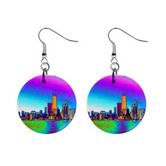 Chicago Colored Foil Effects Mini Button Earrings by canvasngiftshop
