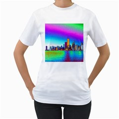 Chicago Colored Foil Effects Women s T Shirt (white) (two Sided) by canvasngiftshop