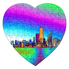 Chicago Colored Foil Effects Jigsaw Puzzle (heart) by canvasngiftshop