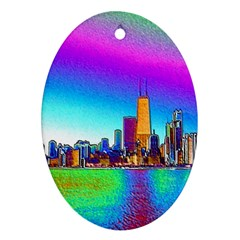Chicago Colored Foil Effects Oval Ornament (two Sides) by canvasngiftshop