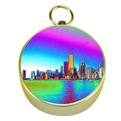 Chicago Colored Foil Effects Gold Compasses by canvasngiftshop