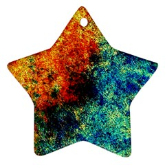 Orange Blue Background Star Ornament (two Sides)  by Costasonlineshop