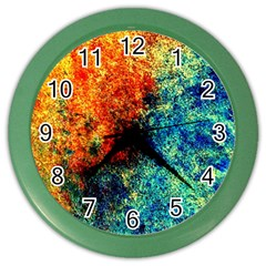 Orange Blue Background Color Wall Clocks by Costasonlineshop