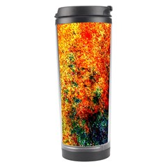 Orange Blue Background Travel Tumblers by Costasonlineshop