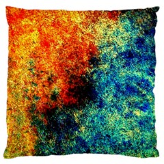 Orange Blue Background Large Flano Cushion Cases (two Sides)  by Costasonlineshop