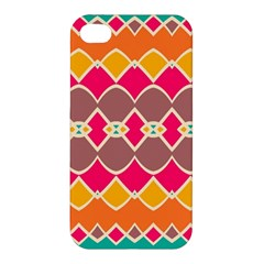 Symmetric Shapes In Retro Colors Apple Iphone 4/4s Hardshell Case by LalyLauraFLM