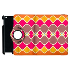 Symmetric Shapes In Retro Colors			apple Ipad 3/4 Flip 360 Case by LalyLauraFLM