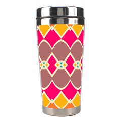 Symmetric Shapes In Retro Colors Stainless Steel Travel Tumbler by LalyLauraFLM