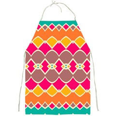 Symmetric Shapes In Retro Colors			full Print Apron by LalyLauraFLM