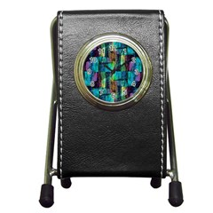 Abstract Square Wall Pen Holder Desk Clocks by Costasonlineshop