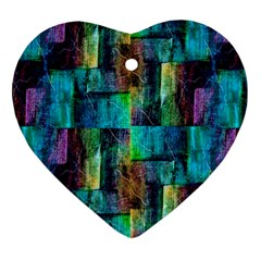 Abstract Square Wall Heart Ornament (2 Sides) by Costasonlineshop