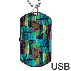 Abstract Square Wall Dog Tag Usb Flash (one Side) by Costasonlineshop