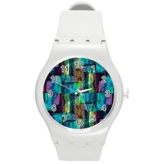Abstract Square Wall Round Plastic Sport Watch (m) by Costasonlineshop