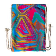 Distorted Shapes Large Drawstring Bag by LalyLauraFLM