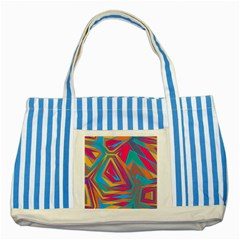 Distorted Shapes			striped Blue Tote Bag by LalyLauraFLM