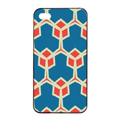 Orange Shapes On A Blue Background			apple Iphone 4/4s Seamless Case (black) by LalyLauraFLM