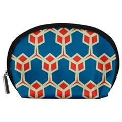 Orange Shapes On A Blue Background Accessory Pouch by LalyLauraFLM