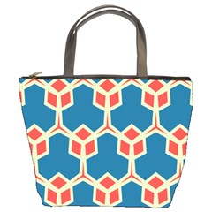 Orange Shapes On A Blue Background 	bucket Bag by LalyLauraFLM