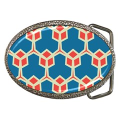 Orange Shapes On A Blue Background			belt Buckle by LalyLauraFLM
